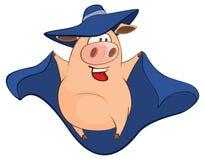 Illustration of Cute Pig in Superhero Costume Cartoon Character Stock Image