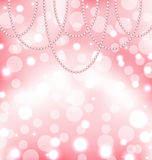 Cute pink background with pearls Stock Photography