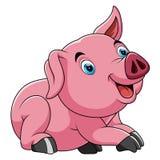 Cute pretty pig cartoon stock illustration
