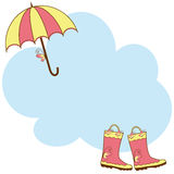 Illustration cute rain boots and umbrella Royalty Free Stock Image