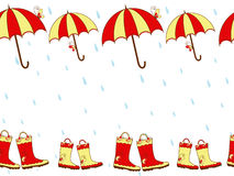 Illustration cute rain boots and umbrella seamless Stock Photos