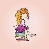 Illustration of a cute redhead girl with books. Student girl on vacation. Royalty Free Stock Photography