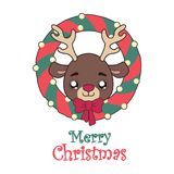 Illustration of a cute reindeer and a Christmas wreath Royalty Free Stock Photo