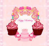 Illustration of cute retro cupcakes card Royalty Free Stock Image
