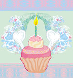 Illustration of cute retro cupcakes card - Happy Birthday Card Stock Photo