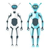Illustration of cute robot. Vector cartoon style illustration of cute robot white and blue. Isolated on white background royalty free illustration