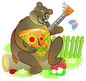 Illustration of cute Russian bear playing a balalaika. Vector cartoon image. Scale to any size without loss of resolution Stock Photo