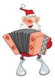 Illustration of a Cute Santa Claus a Accordion Player. Cartoon Character Stock Photos