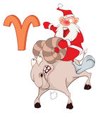 Illustration of a Cute Santa Claus. Astrological Sign in the Zodiac Aries. Cartoon Character Royalty Free Stock Photos