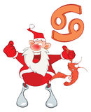 Illustration of a Cute Santa Claus. Astrological Sign in the Zodiac Cancer. Cartoon Character Royalty Free Stock Photo