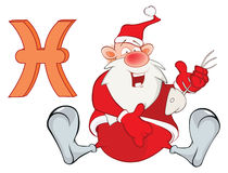 Illustration of a Cute Santa Claus. Astrological Sign in the Zodiac Fish Pisces. Cartoon Character. Stock Images