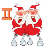 Illustration of a Cute Santa Claus. Astrological Sign in the Zodiac Gemini. Cartoon Character Stock Photo