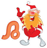Illustration of a Cute Santa Claus. Astrological Sign in the Zodiac Leo. Cartoon Character Stock Images