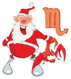 Illustration of a Cute Santa Claus. Astrological Sign in the Zodiac Scorpion. Cartoon Character Stock Image