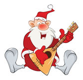 Illustration of a Cute Santa Claus and a Balalaika. Cartoon Character Royalty Free Stock Images