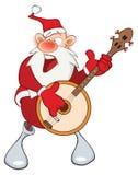 Illustration of a Cute Santa Claus and a Banjo. Cartoon Character Royalty Free Stock Image