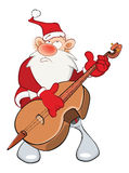 Illustration of a Cute Santa Claus and a Cello. Cartoon Character Stock Photos
