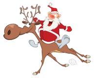 Illustration of Cute Santa Claus and Christmas Deer Royalty Free Stock Photos