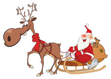 Illustration of Cute Santa Claus and Christmas Deer Royalty Free Stock Images