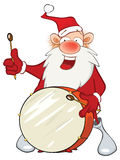Illustration of a Cute Santa Claus and a  drum. Cartoon Character Stock Photography