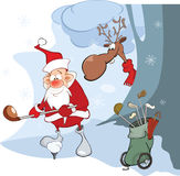 Illustration of Cute Santa Claus Golfer Royalty Free Stock Photos