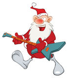 Illustration of Cute Santa Claus Jazz Guitarist. Cartoon Character. The cheerful musician Santa Claus with a musical instrument Stock Image
