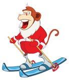 Illustration of a Cute Santa Claus.A Monkey Skiing. Year of the Monkey. Cartoon Character Stock Photos