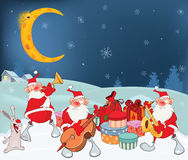 Illustration of Cute Santa Claus Music Band and Christmas Gifts Stock Photo