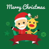 Illustration of cute santa claus and reindeer Royalty Free Stock Images