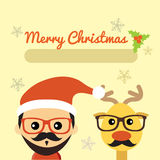 Illustration of cute santa claus and reindeer Royalty Free Stock Photography