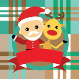 Illustration of cute santa claus and reindeer Royalty Free Stock Photo