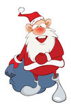 Illustration of a Cute Santa Claus and a Sack Full of Gifts. Cartoon Character Stock Images