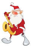 Illustration of a Cute Santa Claus a Saxophonist Stock Photo