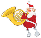 Illustration of a Cute Santa Claus a Sousaphone Player. Cartoon Character Royalty Free Stock Photography