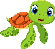 Cute sea turtle cartoon. Funny and adorable. Illustration of cute sea turtle cartoon isolated on white background stock illustration