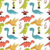 Cute seamless pattern with cartoon colorful dinosaurs. Illustration of Cute seamless pattern with cartoon colorful dinosaurs Stock Photography