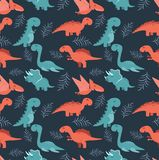 Cute seamless pattern with cartoon colorful dinosaurs. Illustration of Cute seamless pattern with cartoon colorful dinosaurs Stock Photo