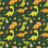 Cute seamless pattern with cartoon dinosaurs. Illustration of Cute seamless pattern with cartoon dinosaurs Royalty Free Stock Images