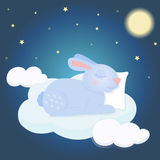 Illustration with a cute sleeping rabbit on the cloud. Illustration of a night background with a beautiful sleeping rabbit Stock Image