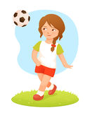 Illustration of a cute small girl playing football Stock Photos