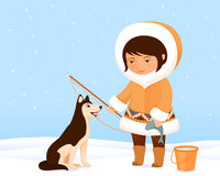 Illustration of a cute small Inuit girl Stock Images