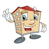 Cute smiling house. Illustration of the cute smiling house waving hand Royalty Free Stock Photos