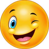 Cute smiling and winking emoticon Royalty Free Stock Image