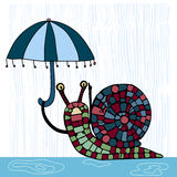 Illustration with cute snail with umbrella.. Royalty Free Stock Images