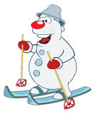 Illustration of Cute snowball Skiing. Cartoon Character Royalty Free Stock Photo