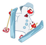 Illustration of Cute snowball Skiing. Cartoon Character. The cheerful snowball goes for a drive on wide skis Royalty Free Stock Photography