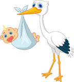 Cute stork cartoon with baby Stock Image