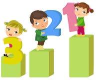 Three children. Illustration of cute three children Royalty Free Stock Image