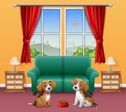 Cute two dogs sitting in the living room. Illustration of Cute two dogs sitting in the living room Royalty Free Stock Image