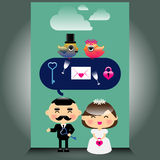An illustration of cute wedding icons Royalty Free Stock Photo
